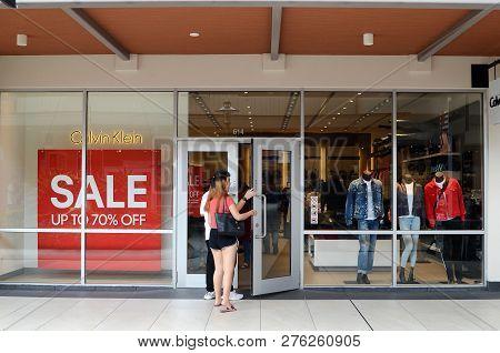 Genting Highlands, Malaysia- Dec 03, 2018: Calvin Klein Outlet At Genting Highlands Premium Outlets,