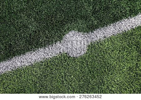 Artificial Turf Of Football Field, Top View Of Artificial Grass, Artificial Turf Taken And The Cente