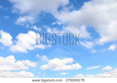 Sky, Sky With Fluffy Clouds, Sky Blue Cloud Background, Cloudscape Sky Clear
