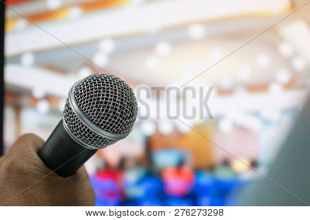 Seminar Conference Concept : Microphones For Speech Or Speaking In Seminar Room, Talking For Lecture