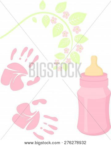 Little Lady Baby Shower Related Items Collection. Newborn Set. Baby Girl Elements, Handprint, Baby N