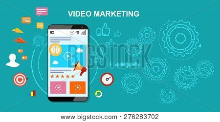 Video Marketing. The Concept Of Video Marketing. Vector Stock Illustration