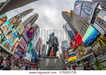 New York, Usa - May 23, 2018: View Of George M. Cohan Statue At Times Square In New York City. It Is