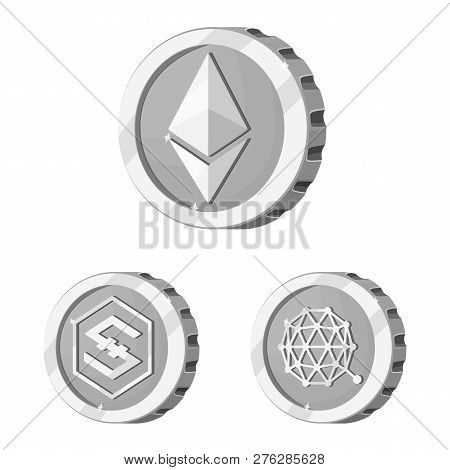 Isolated Object Of Cryptocurrency And Coin Sign. Set Of Cryptocurrency And Crypto Stock Symbol For W