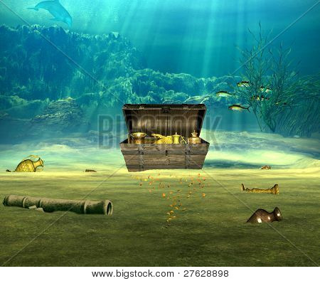 The treasure chest with valuable objects underwater. poster