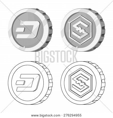 Isolated Object Of Cryptocurrency And Coin Icon. Collection Of Cryptocurrency And Crypto Vector Icon