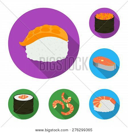 Vector Illustration Of Sushi And Fish Logo. Set Of Sushi And Cuisine Stock Vector Illustration.