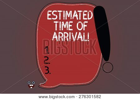 Word writing text Estimated Time Of Arrival. Business concept for Hours at which a flight is supposed to arrive Blank Color Speech Bubble Outlined with Exclamation Point Monster Face icon. poster