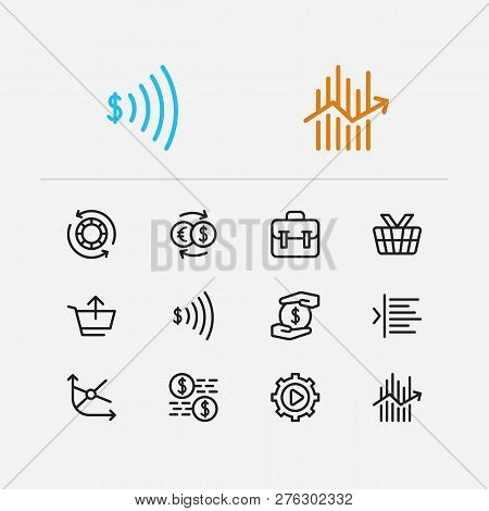 Trading Icons Set. Portfolio And Trading Icons With Moving Average, Mutual Funds And Margin. Set Of
