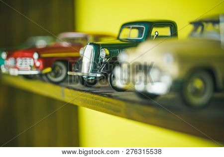 They Look Like Real Cars. Classic Model Vehicles Or Toy Vehicles. Miniature Collection Of Automobile