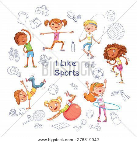 Fitness. Children Are Engaged In Different Kinds Of Sports On The Background Of Various Sports Equip