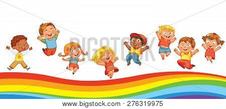 Kids Have Fun Jumping On A Rainbow, Like On A Trampoline. Template Is Ready For Advertising Of Child