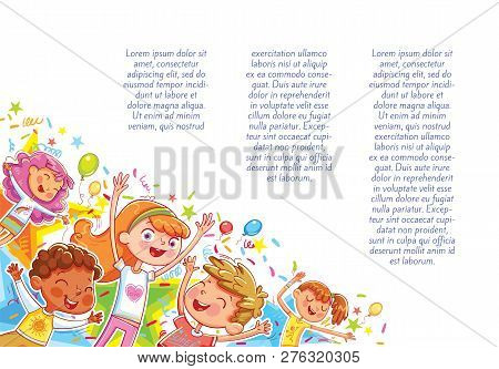 Kids Jumping Have Fun In Children Party. Template For Advertising Brochure. Children Background For