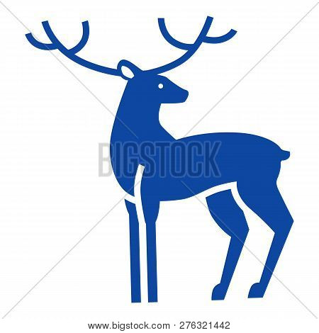 Blue Xmas Deer Icon. Simple Illustration Of Blue Xmas Deer Icon For Web Design Isolated On White Bac