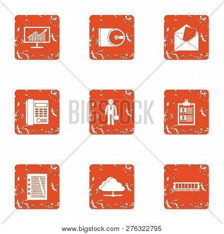 Entrepreneurial Activity Icons Set. Grunge Set Of 9 Entrepreneurial Activity Icons For Web Isolated
