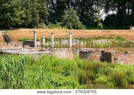 Ancient Greece City Dion. Ruins Of Sanctuary To Artemis Or Isis. Archaeological Park Of Sacred City