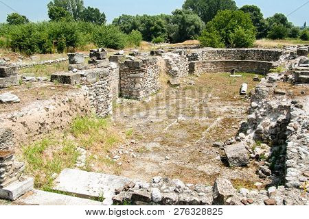 Ancient Greece City Dion. Ruins Of Ancient Christian Basilica. Archaeological Park Of Sacred City Of
