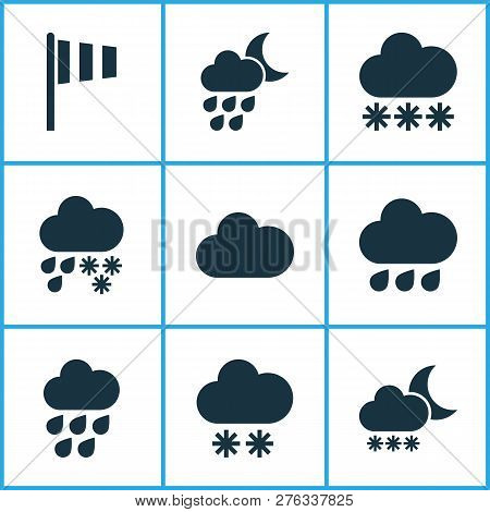 Climate Icons Set With Winter, Cloud, Snowy And Other Deluge Elements. Isolated  Illustration Climat