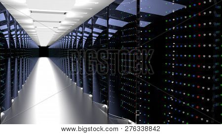 Server Racks In Server Room Cloud Data Center. Datacenter Hardware Cluster. 3d Render. Backup, Hosti