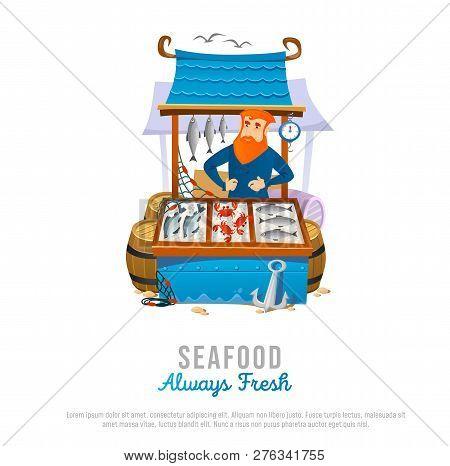 Seafood Market Store In Cartoon Style. Vector Illustration