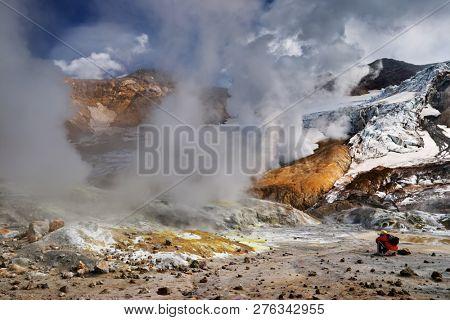 Inside active volcanic crater, Mutnovsky Volcano, Kamchatka, Russia