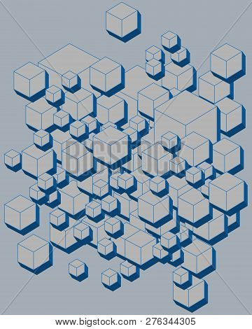3d Futuristic Cubes, Geometric Shape And Background