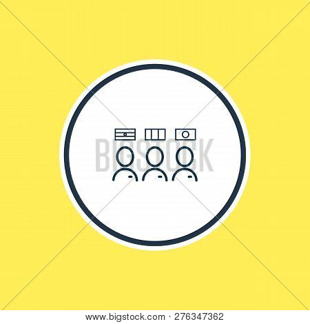 Vector Illustration Of Multilingual Staff Icon Line. Beautiful Tourism Element Also Can Be Used As T