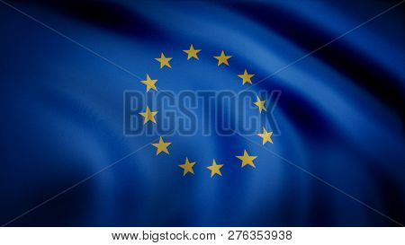 Flag Of The European Union. Beautiful European Flag. Flag Of Europe Waving At Wind In Slow, Loop. Se