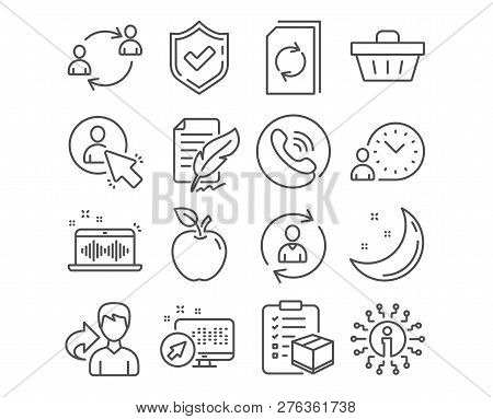 Set Of Feather Signature, Shopping Basket And Person Info Icons. User, User Communication And Time M