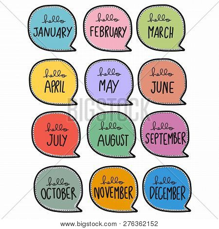 12 Month Cute Handwriting In Colorful Word Bubble Cartoon Illustration