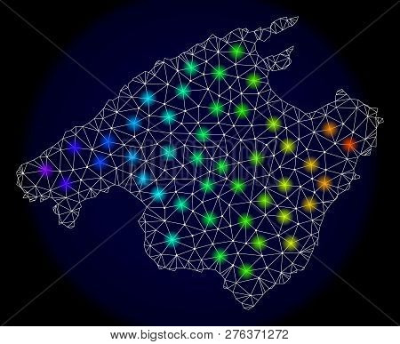 Mesh Vector Map Of Mallorca With Glare Effect. Light Spots Have Bright Spectrum Colors. Abstract Lin