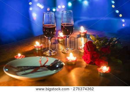 Valentines Dinner Romantic Love Concept Romantic Table Setting Decorated With Fork Spoon On Plate An