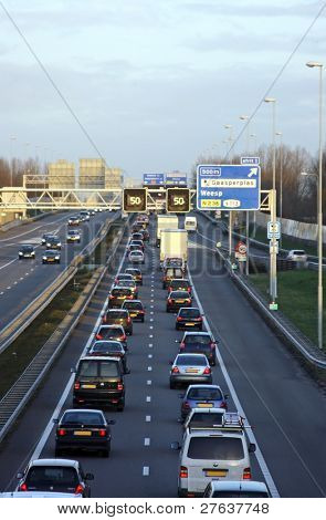 Traffic jam on the famous highway A9 near Amsterdam in the Netherlands