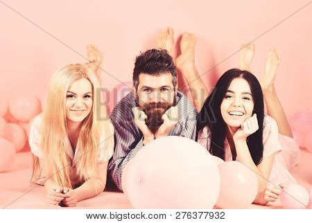 Best Friends, Lovers Near Balloons, Pink Background. Lovers Or Best Friends In Pajamas At Girlish Be