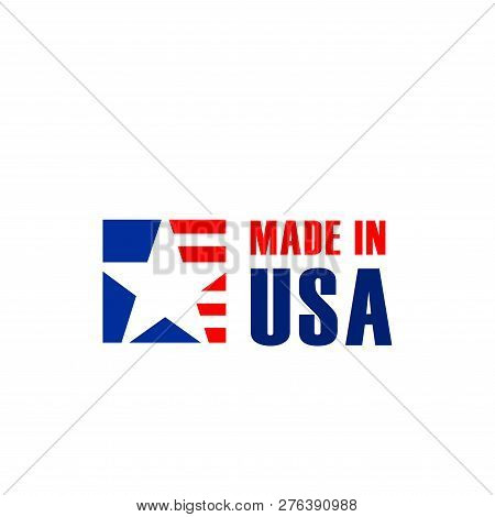 Vector Sign Made In Usa Isolated On A White Background. Creative Badge For Products Manufactured In