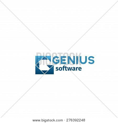 Genius Software Vector Icon In Blue Colors. Concept Of Web Development And Software Engineering. Ele