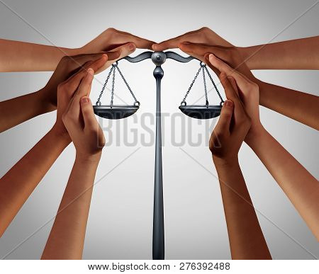 Social Security And Law Welfare Government Benefits With A Group Of Diverse People Holding A Justice