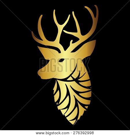 Luxury Gold Ethnic Deer Head Tattoo And Design Abstract With Black Background. Silver Silhouette Dee