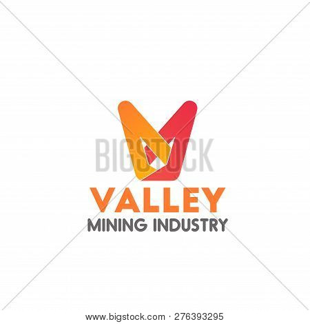 Valley Mining Industry Vector Icon, Concept Of Fintech And Digital Finance Industry. Creative Badge