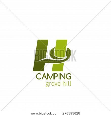 Camping Grove Hill Vector Icon Isolated On White Background. Vector Camping Emblem, Concept Of Mount