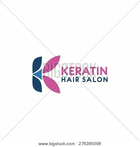 Hirdresser Salon Icon Of G Letter For Women Beauty Hair Styling. Vector Letter K In Pink And Blue Co