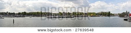 Panorama from Amsterdam harbor in the Netherlands