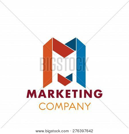 Marketing Company M Letter Icon For Advertising Or Market Research Agency. Vector Letter M Symbol Fo