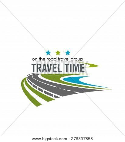 Travel Time Group Company Label. Vector Poster With Road For Tourism Company. Vector Label With Road