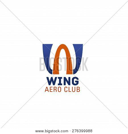 Aero Club Letter W Icon Of Airplane Or Aircraft Customs Company Or Pilot Team. Vector Isolated Wings