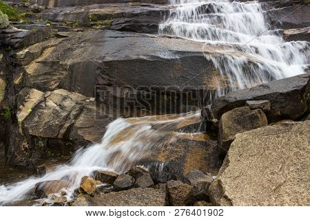 Cascade Of Waterfall On Rocks. Waterfall Marble In The Ergaki Nature Park, Russia, Siberia.