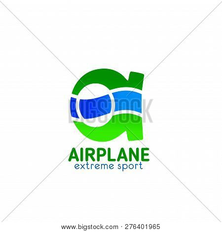 Airplane Extreme Sport Club A Letter Icon For Aero Adventure Pilots Team Badge. Vector Isolated Symb