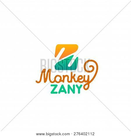 Monkey Zany Letter Z Icon For Zoo Or Zoological Park And Pet Store. Vector Isolated Letter Z Symbol