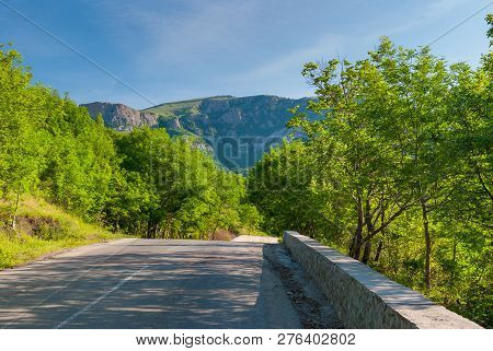 Spring Landscape With Empty Road Through Mountain Forest, Crimean Peninsula