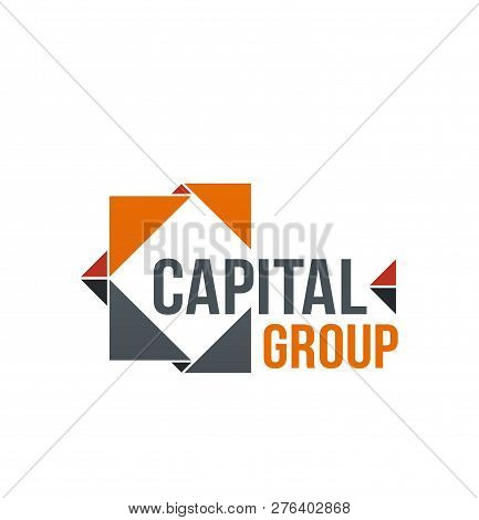 Creative Vector Sign For Capital Group. Vector Icon For Business Company In Orange And Gray Colors.